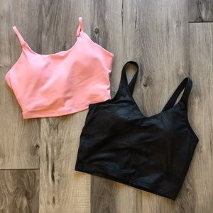 Set of 2 Longline Sports Bras | Pink and Metallic Black | Size Small